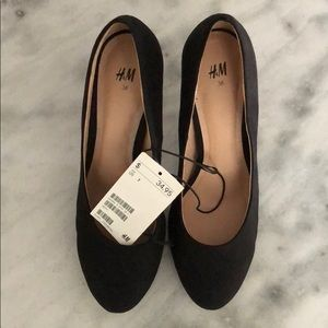 H&M Black suede round toe High Heels Shoes